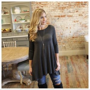 Tops - Charcoal tunic with pockets